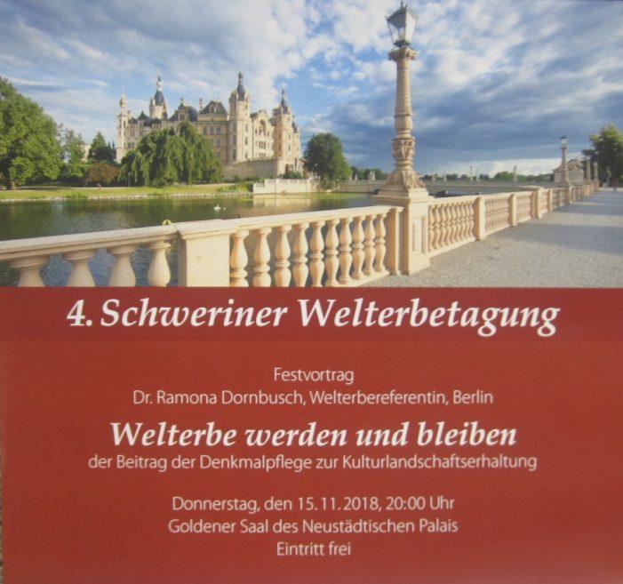 4. Schweriner Welterbetagung am 15./16. November in der Landeshauptstadt